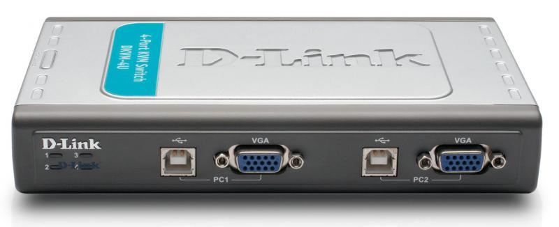 Switch KVM D-Link, 4 porturi+USB, PS/2, 2 cabluri incluse