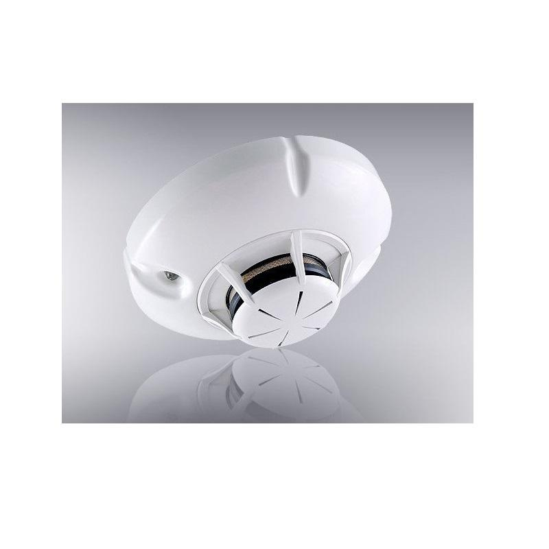 Combined optical smoke and rate of rise heat detector, with loc