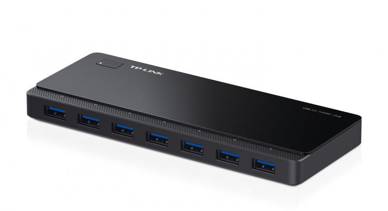 Hub USB TP-Link, UH700, 7 porturi, USB 3.0, adapter 12 V, negru