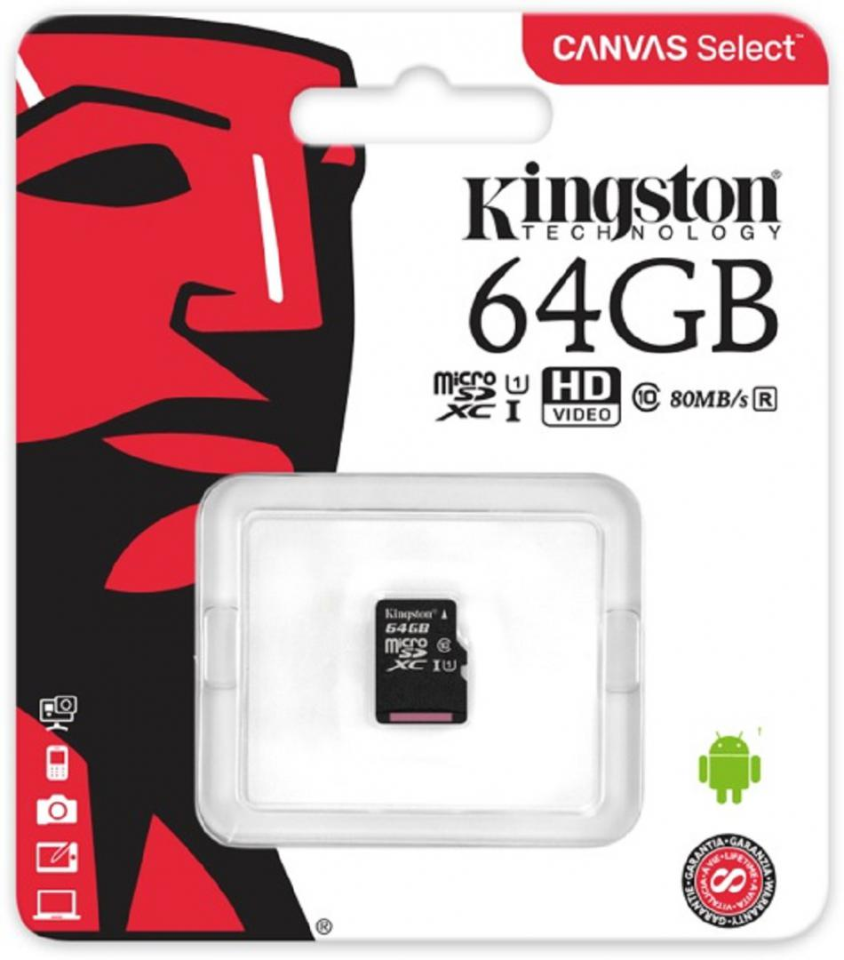MicroSDXC Kingston, 64GB, Canvas Select 80R, Clasa 10 UHS-I, R/W 80/10 MB/s, fara adaptor SD